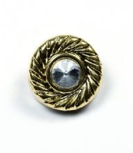 Pack of 5 34L or 22mm Gold Diamante Button